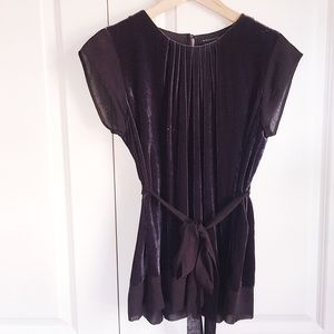 BCBGMaxAzria Plum Velvet and Silk Tunic Cap Sleeve